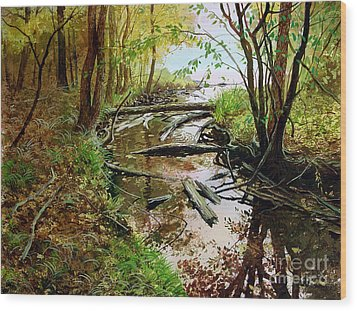 Wood Print featuring the painting To The Lake by Sergey Zhiboedov