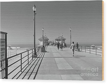 Wood Print featuring the photograph To The Sea On Huntington Beach Pier by Ana V Ramirez