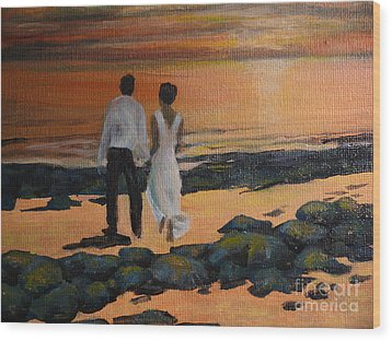 To Wed At Rocky Point Wood Print