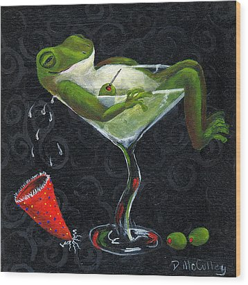 Toadally Under The Influence Wood Print by Debbie McCulley
