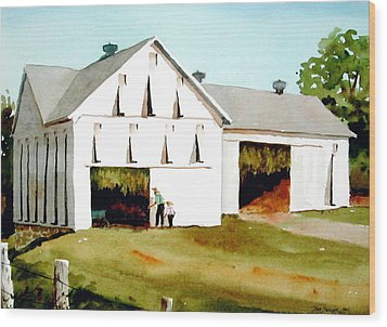 Tobacco Barn Wood Print by Faye Ziegler