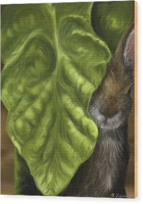 Wood Print featuring the digital art Tobacco Hare by Meagan  Visser