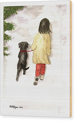 Together - Black Labrador And Woman Walking Wood Print
