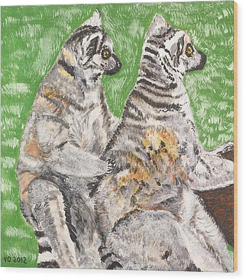 Together Wood Print by Valerie Ornstein