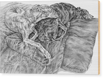 Togetherness - Greyhound Dog Art Print Wood Print by Kelli Swan