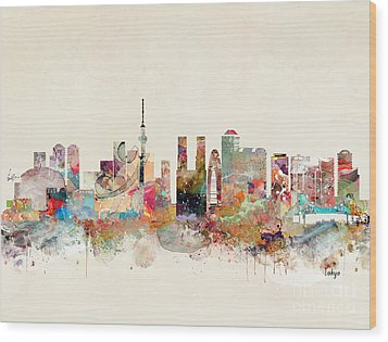 Wood Print featuring the painting Tokyo City Skyline by Bri B