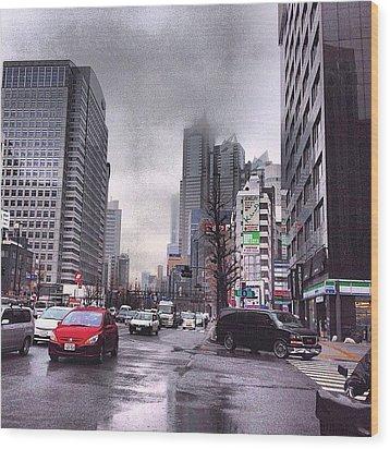 Tokyo Cloudy Wood Print by Moto Moto