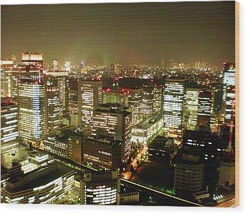 Tokyo Skyline Wood Print by Nancy Ingersoll
