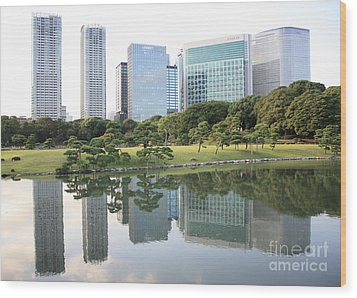 Tokyo Skyline Reflection Wood Print