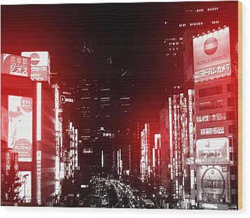 Tokyo Street Wood Print by Naxart Studio