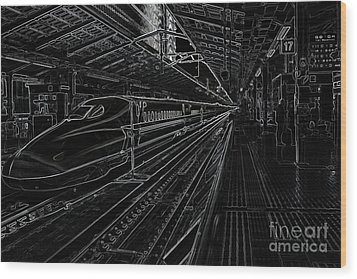 Tokyo To Kyoto, Bullet Train, Japan Negative Wood Print