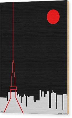 Tokyo Tower Wood Print by Asbjorn Lonvig