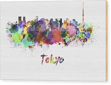 Tokyo V2 Skyline In Watercolor Wood Print by Pablo Romero