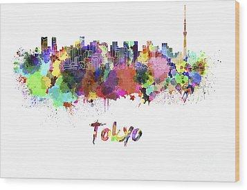 Tokyo V2 Skyline In Watercolor Wood Print by Pablo Romero