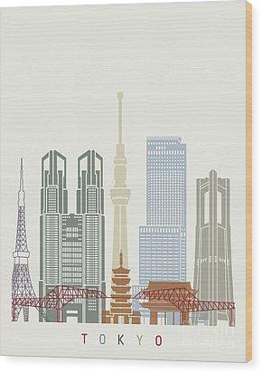 Tokyo V2 Skyline Poster Wood Print by Pablo Romero