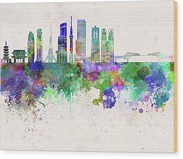 Tokyo V3 Skyline In Watercolor Background Wood Print