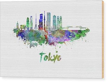 Tokyo V3 Skyline In Watercolor Wood Print