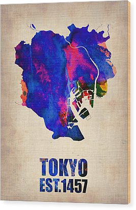 Tokyo Watercolor Map 2 Wood Print by Naxart Studio