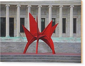 Toledo Museum Of Art With Alexander Calder 1973 'stegosaurus' II Wood Print