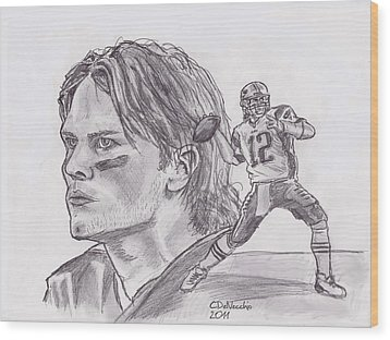 Wood Print featuring the drawing Tom Brady by Chris  DelVecchio