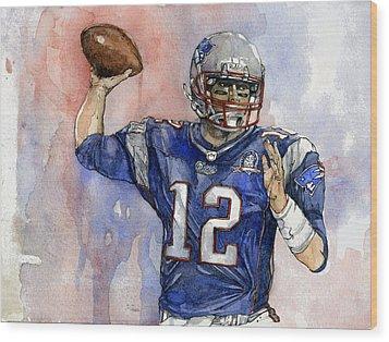 Tom Brady Wood Print by Michael  Pattison