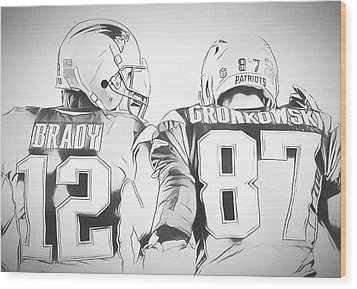 Wood Print featuring the drawing Tom Brady Rob Gronkowski Sketch by Dan Sproul