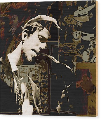 Tom Waits Wood Print by Jeff DOttavio
