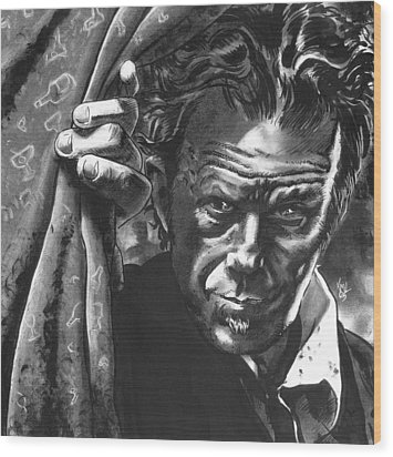 Tom Waits Wood Print by Ken Meyer
