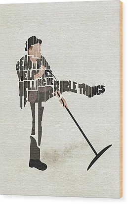 Wood Print featuring the digital art Tom Waits Typography Art by Inspirowl Design
