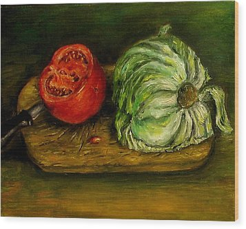 Tomato And Cabbage Oil Painting Canvas Wood Print by Natalja Picugina