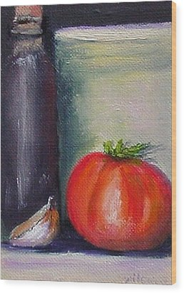 Wood Print featuring the painting Tomato And Garlic by Fred Wilson