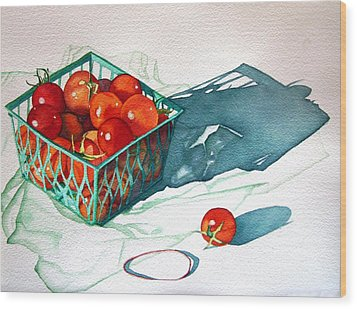 Tomato Basket Wood Print by Gail Zavala