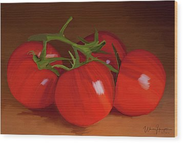 Tomatoes 01 Wood Print by Wally Hampton
