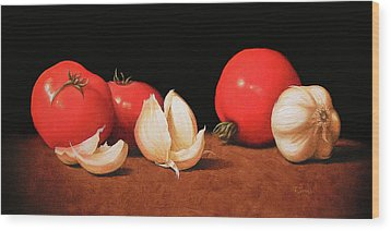 Tomatoes And Garlic Wood Print by Timothy Jones