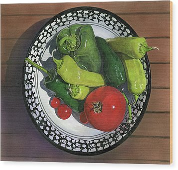 Tomatoes And Peppers  Wood Print