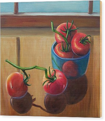 Tomatoes Fresh Off The Vine Wood Print by Susan Dehlinger