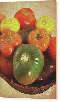 Wood Print featuring the painting Tomatoes In A Basket Ap by Dan Carmichael