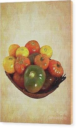 Wood Print featuring the painting Tomatoes In A Basket Wide Ap by Dan Carmichael