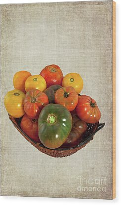 Wood Print featuring the photograph Tomatoes In A Basket Wide by Dan Carmichael