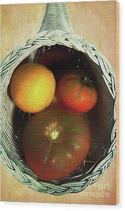 Wood Print featuring the painting Tomatoes In A Horn Of Plenty Basket 2 Ap by Dan Carmichael