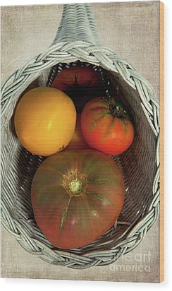 Wood Print featuring the photograph Tomatoes In A Horn Of Plenty Basket 2 by Dan Carmichael