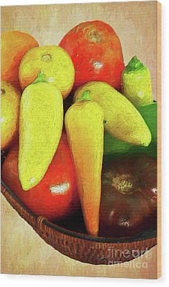 Wood Print featuring the painting Tomatoes Peppers In A Basket Ap by Dan Carmichael