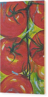 Tomatoes Wood Print by Terri Rodstrom