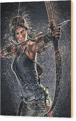 Wood Print featuring the digital art Tomb Raider by Taylan Apukovska