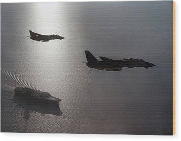 Wood Print featuring the photograph Tomcat Silhouette  by Peter Chilelli