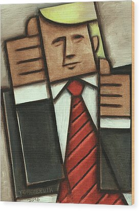 Wood Print featuring the painting Tommervik Abstract Donald Trump Thumbs Up Painting by Tommervik