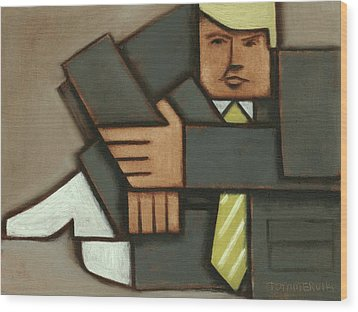 Wood Print featuring the painting Tommervik Absttract Cubism Donald Trump Art Print by Tommervik