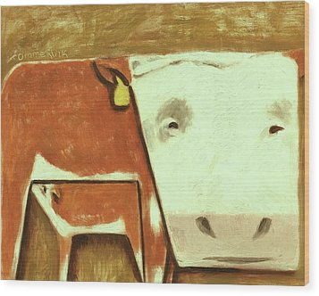 Wood Print featuring the painting Tommervik Cow Milking Calf Cow Art Print by Tommervik