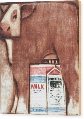 Wood Print featuring the painting Tommervik Cows Milk Art Print by Tommervik