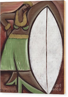 Wood Print featuring the painting Tommervik Hula Girl Surfboard Art Print by Tommervik